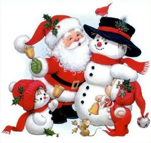 Père Noel et bonhomme de neige - bonhomme de neige noel